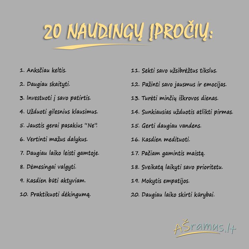 20 naudingų įpročių